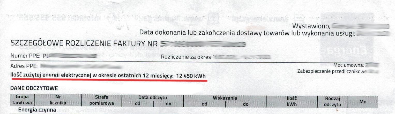 Rachunek za energię elektryczną - dobór fotowoltaika